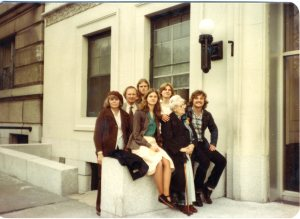 The Galbraiths with Babcia outside Babcia's apartment on Riverside Drive sometime in the early 1980s, Mama in her beret.