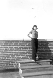 Mama on the roof of Whittier Hall