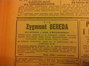 Zygmunt Bereda death notice, Życie Warszawy 14 October, 1945