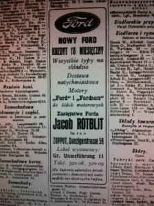 Business Directory of Poland and Danzig 1930: Jacob Rotblit's Ford Dealership in Sopot
