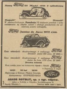 Rotblit Ford Ad, Gazeta Gdańska 1935