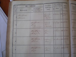 Żychlin book of residents, Walfisz family first half. Hinda, third from the top, was crossed out when she married and moved to Skierniewice.