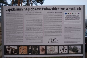 Sign outlining the history of Jews in Wronki