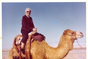 Nunia on a camel in 1972 at about age 86