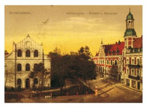 Postcard with the synagogue on the left. Piła was in the Prussian partition of Poland, and was also known as Schneidemühl.