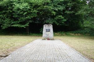Monument at the site of mass murders in Zasław, near Zagórz