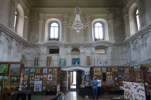 Interior of the Lesko Synagogue. Now owned by the town, it functions as a gallery of regional art.