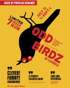 Odd Birdz at the Players Theatre in New York City through September 6