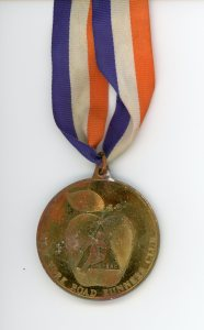 Ron's medal for completing the 1989 New York City Marathon.