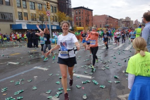 Mile Eight in Brooklyn, where Chris, Bessie, and Krystyna cheered me on.
