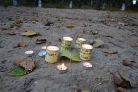 Candles left on the site where victims of the Warsaw Ghetto are buried
