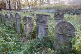 Older looking graves reset in rows