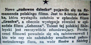 "Review of Ariana Spigiel's performance in Gehenna. She is called the ""Polish Shirley Temple."" In Kurier Filmowy 1938, vol. 12, nr.27."