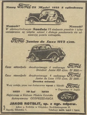 Ad for Jakob Rotblit, Ford Dealer in Gdansk, Sopot, and Gdynia, Gazeta Gdanska 1935