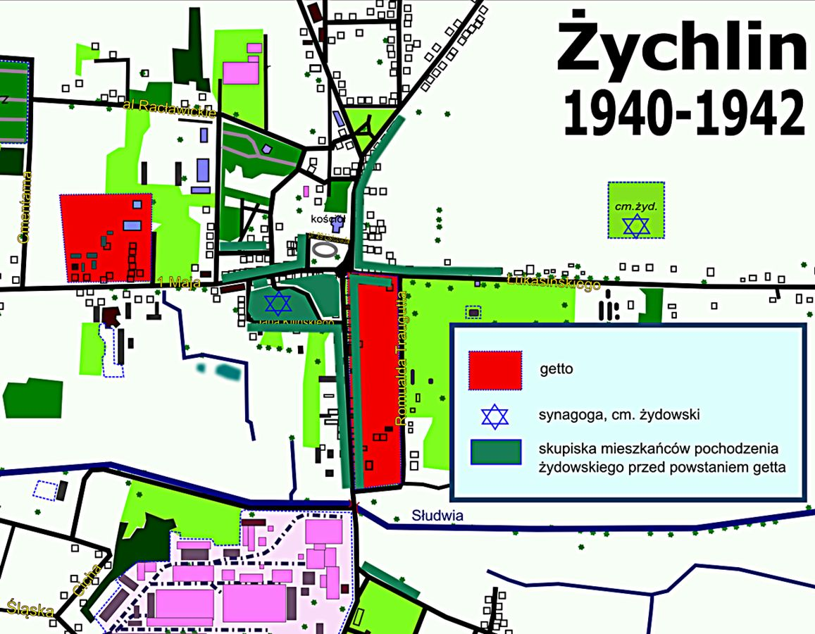 Map of Żychlin 1940-42 showing the ghettos in red, the first one is on the left and the second is on the right. The dark green shows the main areas where Jews lived--note that most were not in what became the ghetto. That meant gentiles had to move out of those areas when the Jews were forced to move in.
