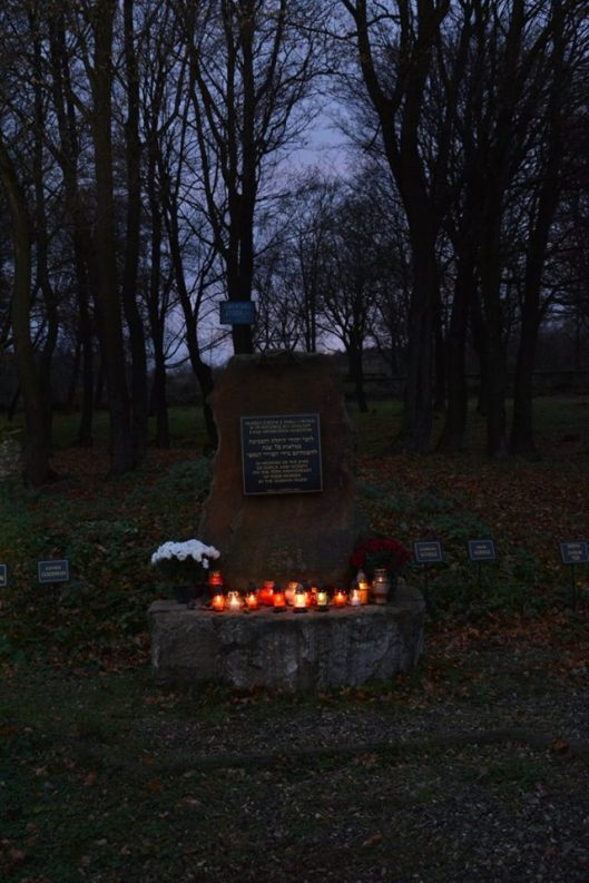 Candle lanterns on the monument commemorating Dukla's Jewish population, November 1, 2016, All Saint's Day.