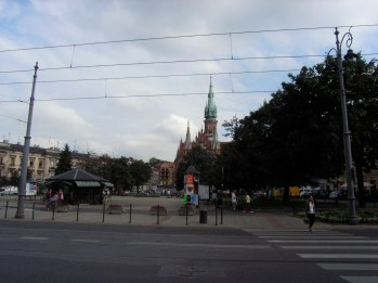 Plaza and church in Podgórze