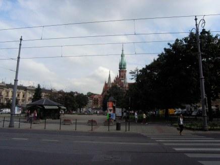 Plaza and church in Podgórze