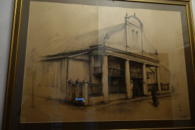 Sketch of Kutno synagogue, in Kutno Museum. My shadow reflection is on the far left.