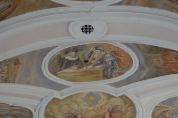 Frescos over the alter depicting the profaning of the host, Church of the Most Holy Blood of the Lord Jesus in Poznan