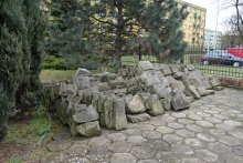 Grave stones outside the former mortuary house, Leszno