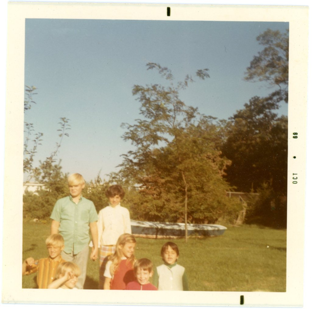 Ron and June hold hands circa 1969. In front, my brothers Wiley and Chris, me, cousin Andrew, and June's sister Kim
